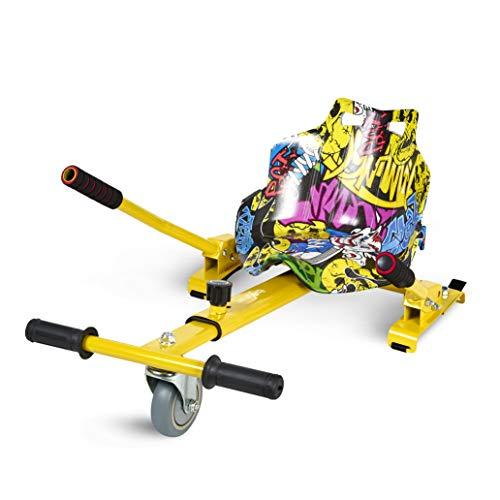 ECOXTREM Hoverkart, Asiento kart, Multicolor Amarillo diseño Hip Hop con rueda delantera y manillar a los lados (para acelerar, frenar y girar libremente), Barra ajustable para acomodar las piernas. Accesorio para transformar scooters eléctricos tipo Hoverboard 6'5, 8 y 10 pulgadas para un desplazamiento más cómodo y con máxima seguridad.