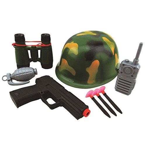 Toby Toby Military Solider Rollenspiel Jungen Spielzeug Camouflage Hut Walkie Talkie Telescope Handgranate Gun Bullets - Kostüm Military Gun Set
