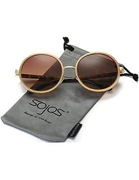Sojos SJ2022 Gafas de sol, antiguas, Góticas, Steampunk, de Metal y plástico Combinados, montura redonda, con...