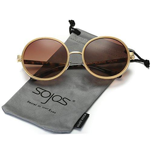 SOJOS Retro Gothic Steampunk Runde Blingbling Verspiegelt Sonnenbrille Damen SJ2022 mit Braun Rahmen/Braun Linse