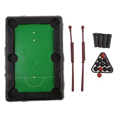 Homyl Tragbar Miniatur Tischtennis Billiard Pool Spielzeug Brettspiel Set, Inkl. 2 Queues, 4 Tischbeine, 11 Bälle und 1 Dreiecks Rack -