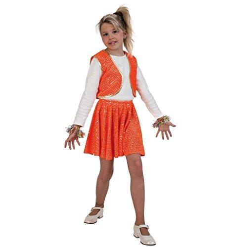 KarnevalsTeufel Kinderkostüm Roxy Orange, Zweiteiliges Outfit mit Glitzerpunkten, Kinderstar, Showgirl