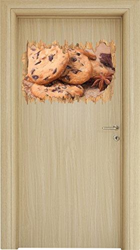 Süße Cookies mit Schokostückchen Bunstift Effekt Holzdurchbruch im 3D-Look , Wand- oder Türaufkleber Format: 62x42cm, Wandsticker, Wandtattoo, (Selbstgemacht Halloween Für Cupcakes)