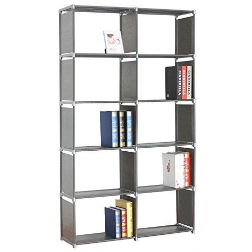 WOLTU RGB9263sb Standregal Lagerregal Bücherregal Regale,2 x 5 Ebenen mehr Raum für Aufbewahrung, Silber, ca.99x30x177cm (Silber Bücherregal)