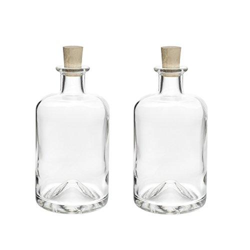 4 x 1000 ml leere Glasflaschen Ideal als Likörflaschen Apotheker-Flaschen mit Korken Verschluss Likörflaschen Schnapsflaschen Essigflaschen Ölflaschen Saftflaschen zum selbst Abfüllen, 0,1l/0,2l/0,35l/0,5l /1l Liter von slkfactory
