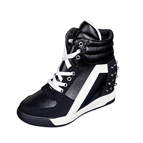 Zapatos de mujer Sneakers de mujer Zapatos individuales Botines Moda Porciones Plataforma Ponerse Deportes Corriendo Con cordones Remache Tacón oculto Casual Viajar Zapatos LMMVP (35, Negro)