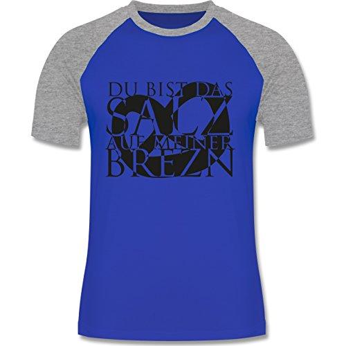 Oktoberfest Herren - Salz auf Brezn - zweifarbiges Baseballshirt für Männer Royalblau/Grau meliert