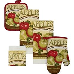 Old Fashion Apples , 7 Piece Set with Towel, Oven Mitt & Pot Holders
