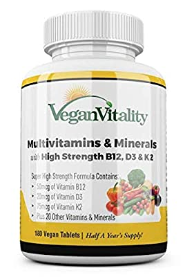 Vegan Multivitamins & Minerals with High Strength Vitamin B12, D3 & K2. 180 multivitamin Tablets - 6 Months Supply. Designed for Vegans & Vegetarians. by Vegan Vitality