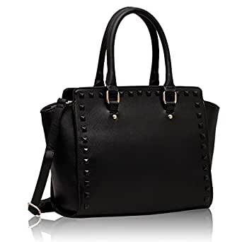Handtaschen schwarz Celebrity Style Damen Nietengürtel Leder-Look-Designer-Handtasche