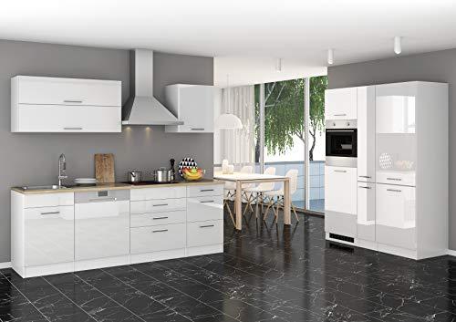Wohnorama Küchenblock 390 inkl E-Geräte von PKM, Kühl/Gefrierkombi, autark (5 TLG) Mailand von Held Möbel Weiss/Eiche Sonoma by