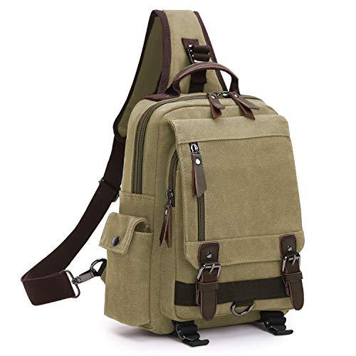 Wind Took Canvas Sling Rucksack Crossbody bag Brusttasche Outdoor Daypack Vintage Schultertasche Unisex Umhängetasche für Herren Damen (Khaki) (Sling-rucksack)