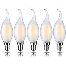 5-Pack 4 W dimmerabile LED filamento candela lampadina, bianco caldo 2700 K, E14 Candelabro base, forma di fiamma Bent punta, 5 pezzi, 40 W ad Incandescenza Equivalente yt-c35t-4