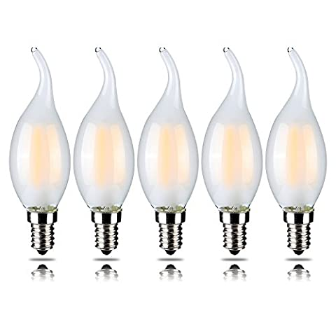 Pack of 5 4W Dimmable LED Filament Candle Light Bulb, Warm White 2700K, E14 Candelabra Base, Flame Shape Bent Tip 40W Incandescent Equivalent 5 Pack