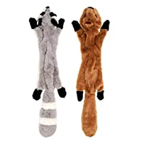 YZNlife Stuffingless Dog Toys,2 Pack Squirrel Raccoon Squeaky Plush Dog Toy for Small Medium Dogs, 42CM