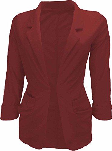 Glamour Fashion - Veste de tailleur - Femme Rouge - Rot - Weinfarben