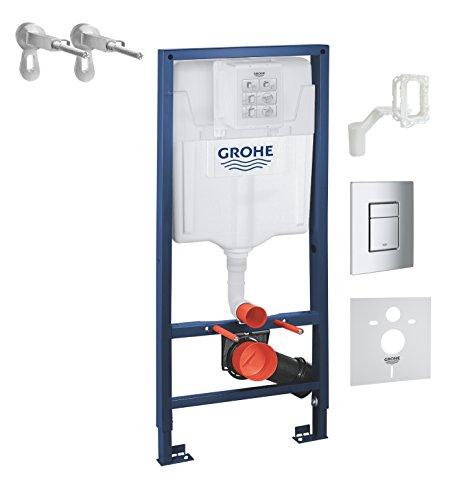 Grohe Rapid SL | WC - 5-in-1 Set für Wand-WC | 1,13 m, mit Wandhalter, Betätigungsplatte Skate Cosmopolitan in chrom und Grohe-Fresh | 38827000