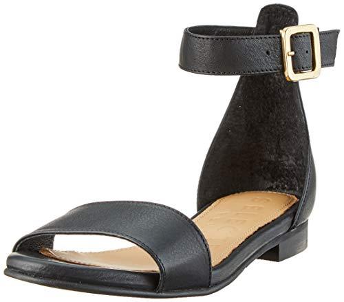 SELECTED FEMME Slfmerle Leather Flat B, Sandali con Cinturino alla Caviglia Donna, Nero Black, 36 EU