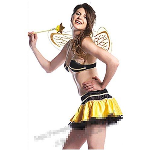 DLucc Gelbe Biene Kostüme Rollenspiel- Kleidung BühnenkleidungBikini-Stil Spieluniformen DS führen Tänzerin Kleidung
