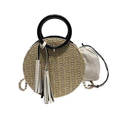 AYALY Frauen runde Tote Stroh Handtasche Wicker gewebt runden Griff Ring Toto Reißverschluss Kette Gurt Sommer Strand Crossbody Tasche