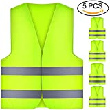 Thinkcase High Visibility Reflective Vest 5 Pack Polyester Neon Yellow Washable High Visibility 360 Degree Reflective Stripes