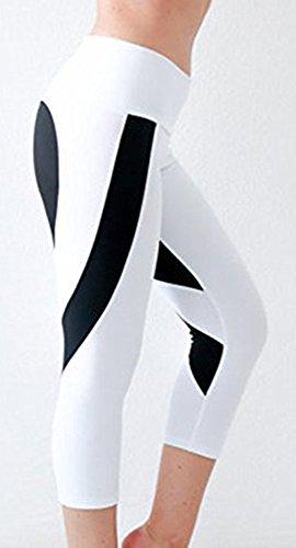 EmilyLe Femme Legging de Yoga Pilates Collants de sport avec imprimé coeur course yoga Fitness Blanc-Noir