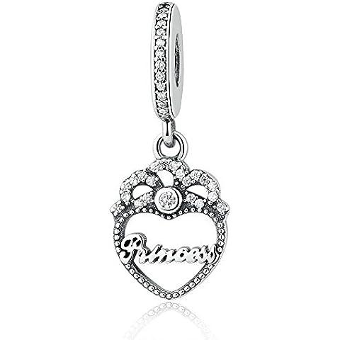 EMOSAN Adatto pandora principessa braccialetto ciondola cuore corona con CZ autentici gioielli 925 fascini dell'argento sterlina