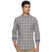 Amazon Brand - Symbol Men's Checkered Slim Fit Full Sleeve Cotton Casual Shirt (AZ-SY-SR-04_8631-2_Olive&Grey_L)
