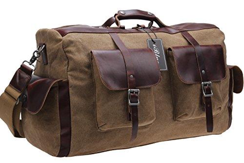 Echtes Leder-Trim-Spielraumduffle Schultertasche Canvas Tote Große Garment Gym Über Nacht Weekender Bag # D-008