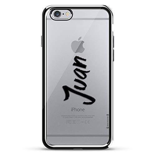 Luxendary Designer-Schutzhülle für iPhone 6/6S Plus, 3D-Druck, modisch, hochwertig, Chrom-Umrandung, Name: Juan, handgeschriebener Stil, Silver Name: Juan - Hand Written Style