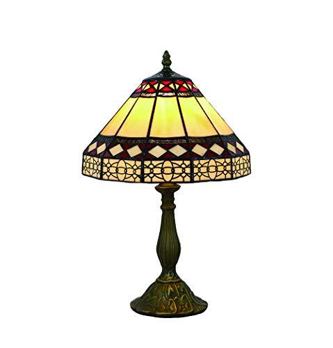 Vintage Tiffany Tischlampen Bernstein 10 Zoll, Tiffany Tischlampe Antik Original, Glasmalerei Lampen Einfachen Stil Schlafzimmer Nacht Lampenschirme Wohnzimmer von FBOSS -
