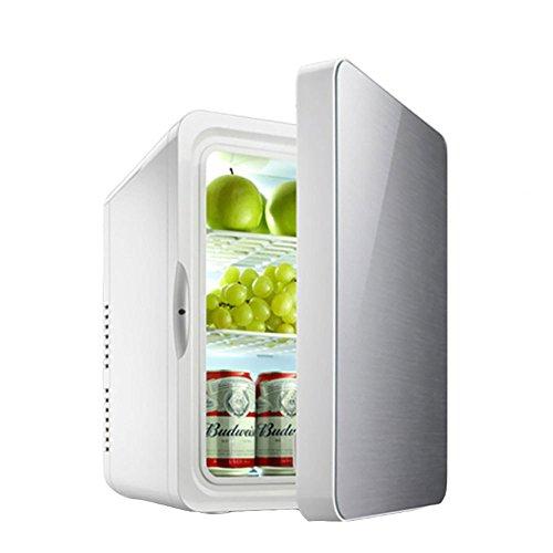 LLX Auto-Kühlschrank 10L Studentenschlafsaal mit Niedrigem Stromverbrauch Mini-Auto-Kühlschrank-System Kühlwagen-Startseite Dual-Use,Silver