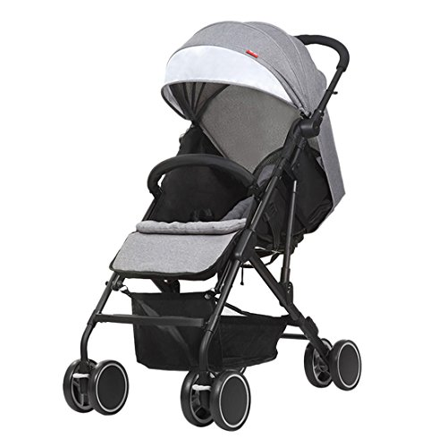Qianle Steel Tube Frame Baby Stroller Travel System Adjustable Pram Pushchair Gray
