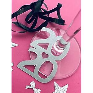 10stk Silvester weinglas/sektglas deko 2020 Neujahr/Silvester Dekoration, Handmade von frilly designs