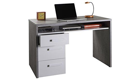 Composad sr2655k56104 piace scrivania, legno, beton/bianco laccato, 60 x 110 x 74 cm, white high gloss, 60x110x74 cm