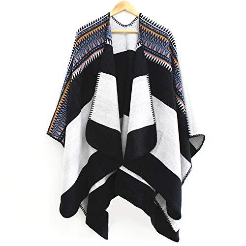 GAOQQ Gestreifte Acryl Schal, Herbst Und Winter Warme Umhang/Schal Schal Für Frauen,Black - Gestreifte Wrap Cardigan
