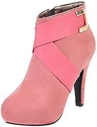 8c816f9f63be YE Damen High Heels Wildleder Stiefeletten mit Plateau Reißverschluss und  Schnallen Elegant Ankle Boots Schuhe