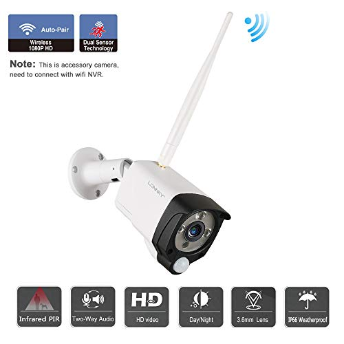 Tonton 1080P Full HD Wireless Audio Video Überwachungskamera Funk Kamera mit PIR Bewegungsmelder für Innen Außen, Addon Kamera für Tonton Überwachungskamera System/NVR System Onvif Standard