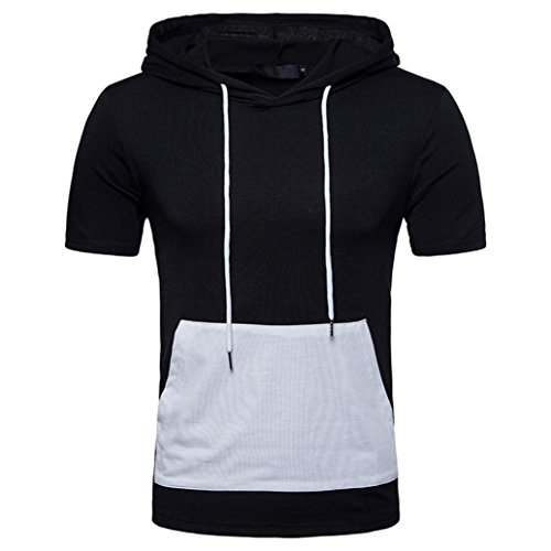 KaloryWee Men's Summer Casual Patchwork Hoodie Hooded Short Sleeved T-Shirt Top Blouse Fashion New Arrival