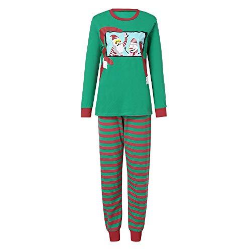 (Pottoa Eltern-Kind-Pyjamas Gestreifte Strampler-Familie Weihnachtsmann Drucken NachtwäSche Langarm Strampler Erwachsene Schlafanzug Kleidung)