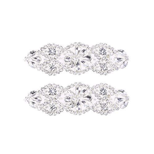 Supvox 2pc applique da sposa applique di strass per la cerimonia nuziale di cristallo da sposa applique cintura (argento diamante bianco)