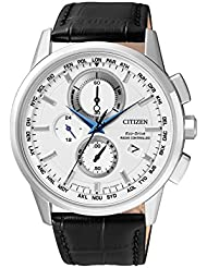 Citizen Herren-Armbanduhr RADIO CONTROLLED Chronograph Quarz Leder AT8110-11A
