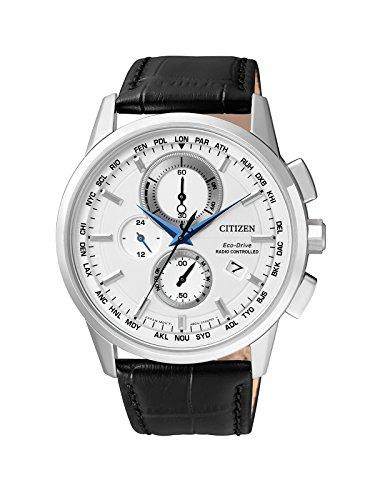 Citizen orologio da polso da uomo radio controlled cronografo quarzo pelle at8110-11a