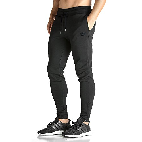 Broki Herren GYM Fitness JOGGER Trainingsanzug Slim Fit Chinos Hosen Gr. XL, schwarz