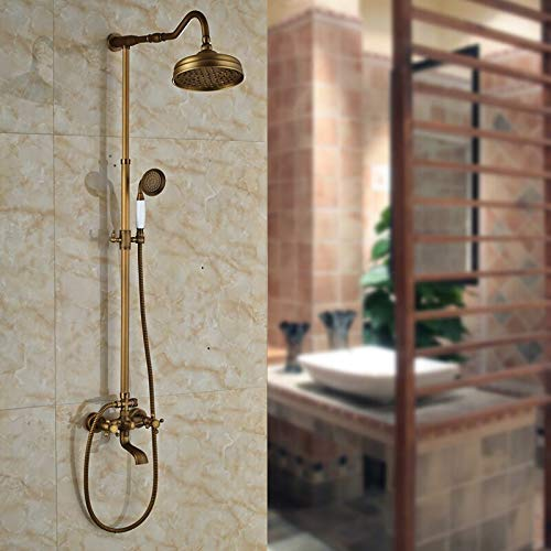 """Best Quality Exposed Shower Faucet Set Dual Handles Bath and Shower Complete Mixer Taps with 8"""" Rainfall Shower Head"""