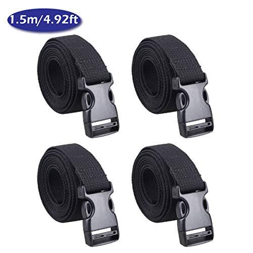 TRIWONDER 25mm Schwarz Nylon Gurtband mit Verstellbare Schnallen, 4 Stück (Schwarz - 1.5m) -