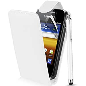 Supergets® Samsung Galaxy Y S5360 White Top Flip Pu Leather Case, Screen Protector , Touch Screen Stylus And Polishing Cloth
