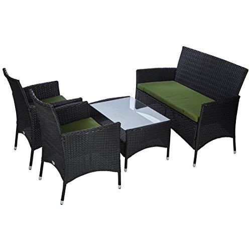 Ultranatura Rattan Set mit Glastisch, schwarz / grün