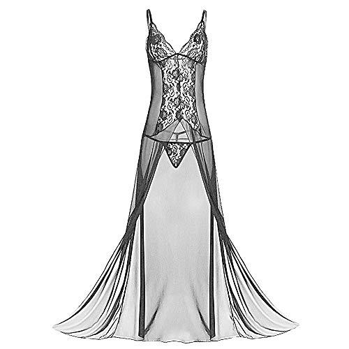 Keven Damen Nachthemd Große Größe Nachtwäsche Lang Nachtkleid mit Bügel (4XL, A-Schwarz)