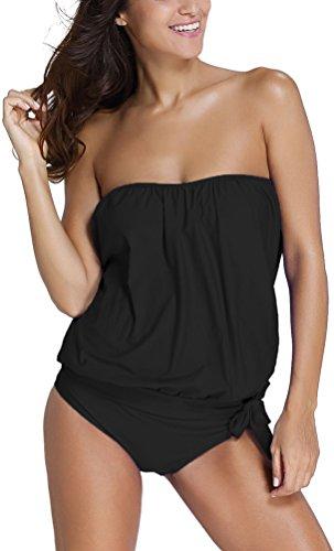 Oliphee mare e piscina sportivo tankini bikini donna moda due pezzi costume costumi nero l
